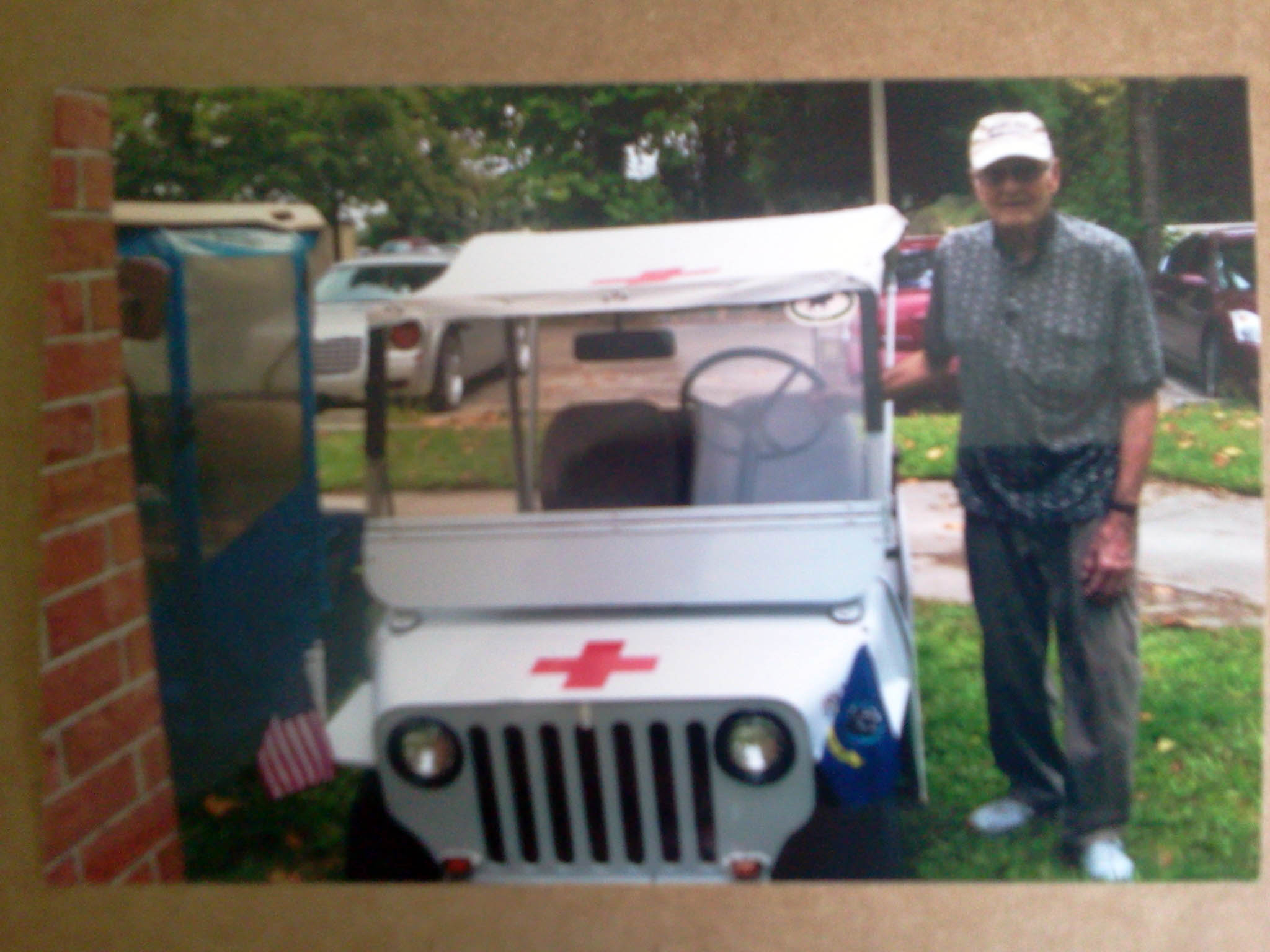 Jim and his Jeep Golf Cart, ready for some hamming!